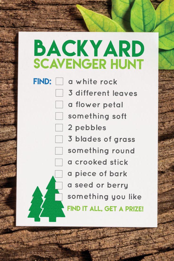 Printable Backyard Scavenger Hunt | Scavenger hunt for ...