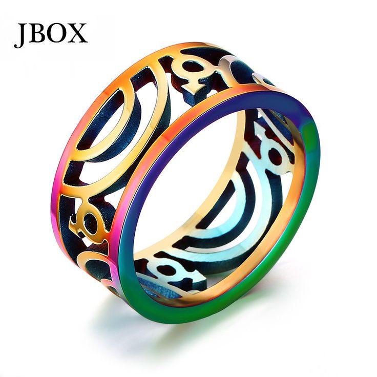 Купить товарUjbox оптовая продажа радуга кольца ювелирные изделия из нержавеющей стали обручальные кольца для мужчин женщины пирсинг гей кольца ювелирных украшений R158G в категории Кольцана AliExpress.      Большие скидки             Горячие моды продукта       UJBOX Wholesale Rainbow Rings Jewelry Stainless Steel Weddin