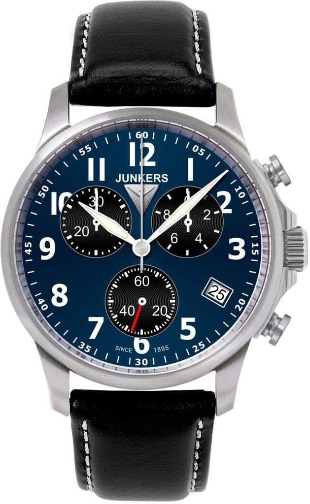 Junkers Tante Ju Chronograph #2015-2016-sale #bezel-fixed #black-friday-special #bracelet-strap-leather #brand-junkers #case-depth-12mm #case-material-steel #case-width-40mm #chronograph-yes #classic #date-yes #delivery-timescale-1-2-weeks #dial-colour-blue #gender-mens #movement-quartz-battery #sale-item-yes #subcat-tante-ju #supplier-model-no-6890-3 #vip-exclusive #warranty-junkers-official-2-year-guarantee #water-resistant-100m