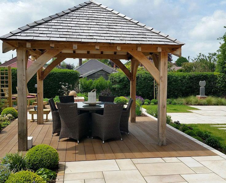 #gardendesign #staffordshire #cheshire #shropshire #gazebo #oakstructure #decking #paving #plants #boxballs #gardensculpture #outdoordining