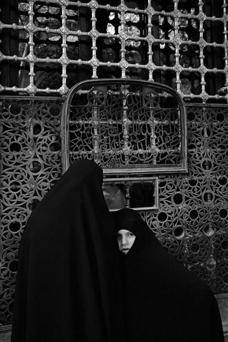 Magnum Photos- Ara Guler TURKEY. A woman and her daughter in charshaf in front of Eyüp Sultan tombs. 1975.