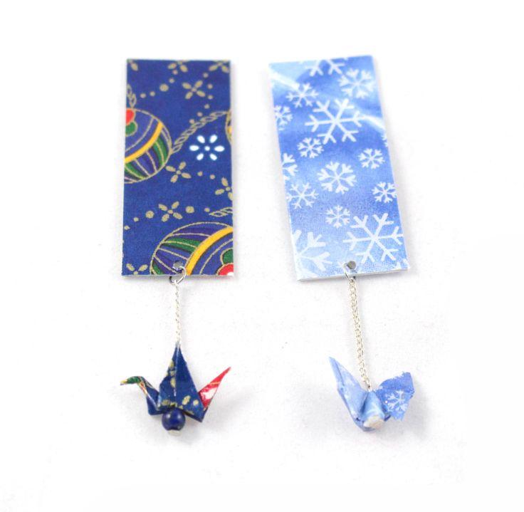 Lot de 2 Marques-pages papier - Grue et Papillon -Origami en papier japonais : Marque-pages par paper-art