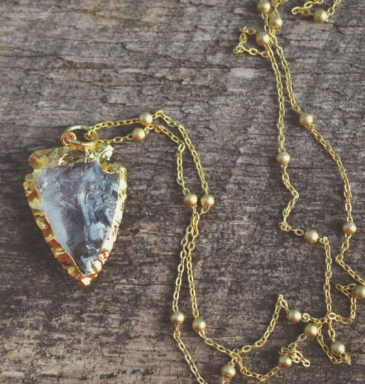 Gold Quartz Arrowhead Necklace