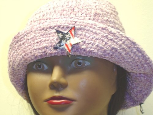 Ht112, Hand Crocheted Lilac Chenille and Gimp Tweed Floppy Hat with American Flag for Men, Women and Teens $22.99