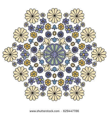Floral Hexagonal Pattern with Daisy Flowers. Different Simple Flowers Organized in Symmetric Motif. Cute Ornament in Vintage Desaturated Colors - Shutterstock Premier