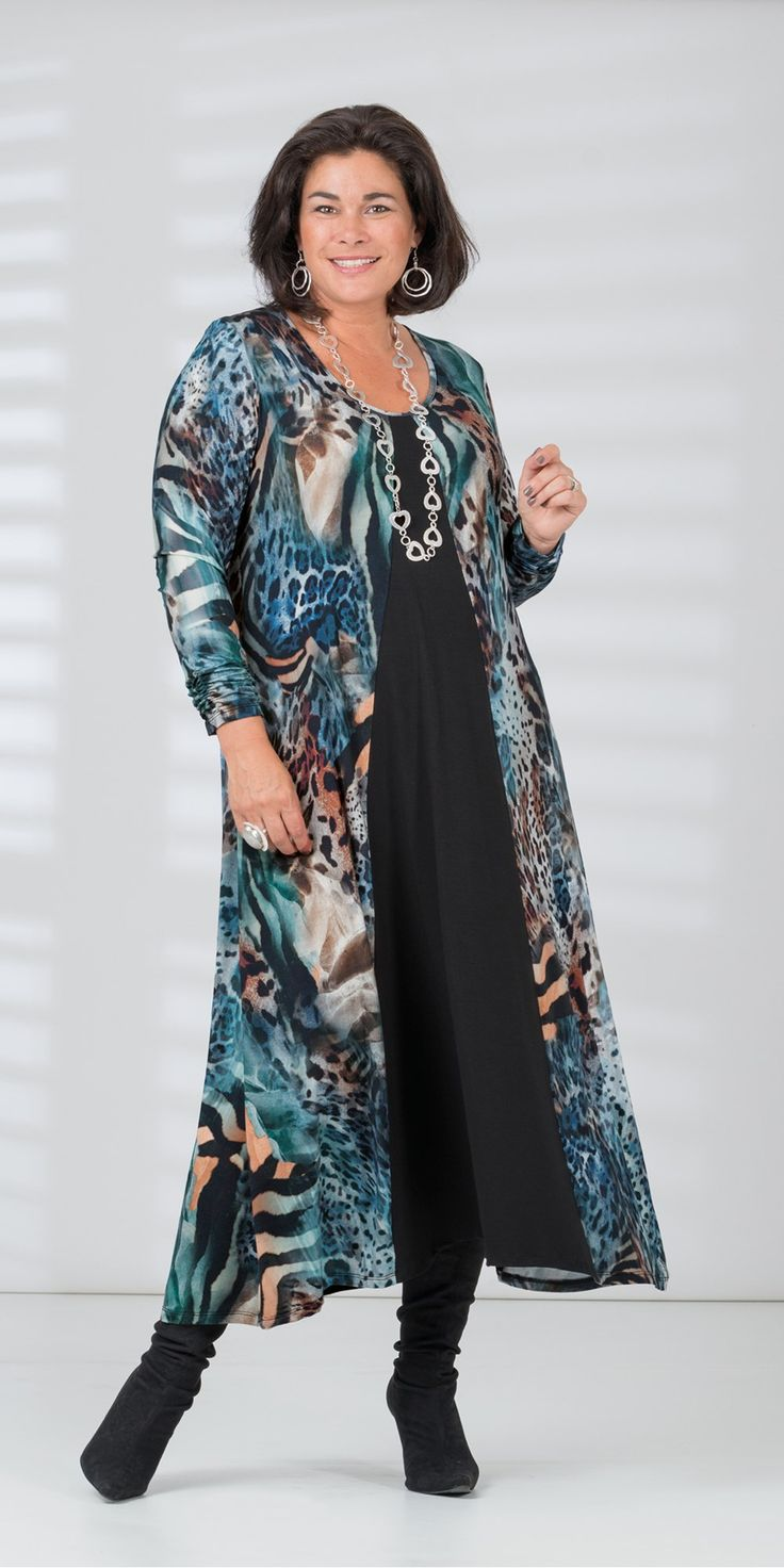 Kasbah blue/animal jersey print dress