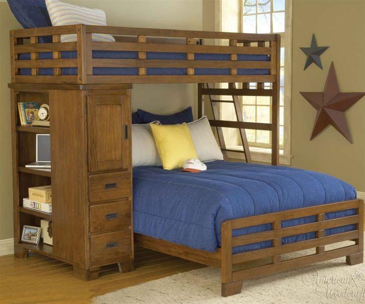 American Woodcrafters kids bedroom furniture heartland twin over full student loft bed for Kids aw1800 1800 furniture Twin Over full bunkbeds childrens bedroom furniture, ekidsrooms.com