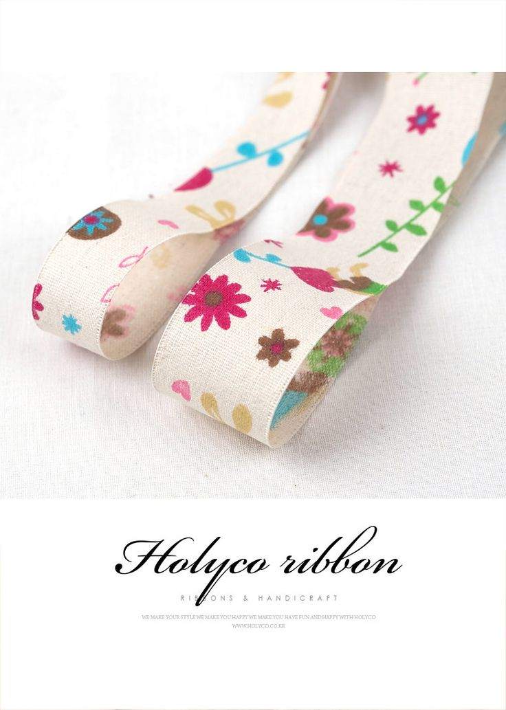 """Bunny & Flower Linen Fabric Ribbon / 1"""" (25mm), 1.5"""" (40mm) / made in korea. by HOLYCO on Etsy"""