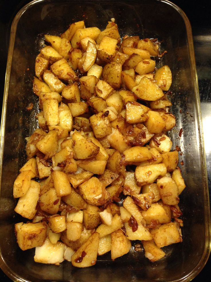 Oven roasted lipton onion potatoes Diced potatoes 1/3 cup veg oil (or olive oil) Lipton onion soup mix Coat potatoes well. (I use a ziplock bag and shake to coat). Place in casserole dish. Bake 425 for 35mins #fbdinnerclub