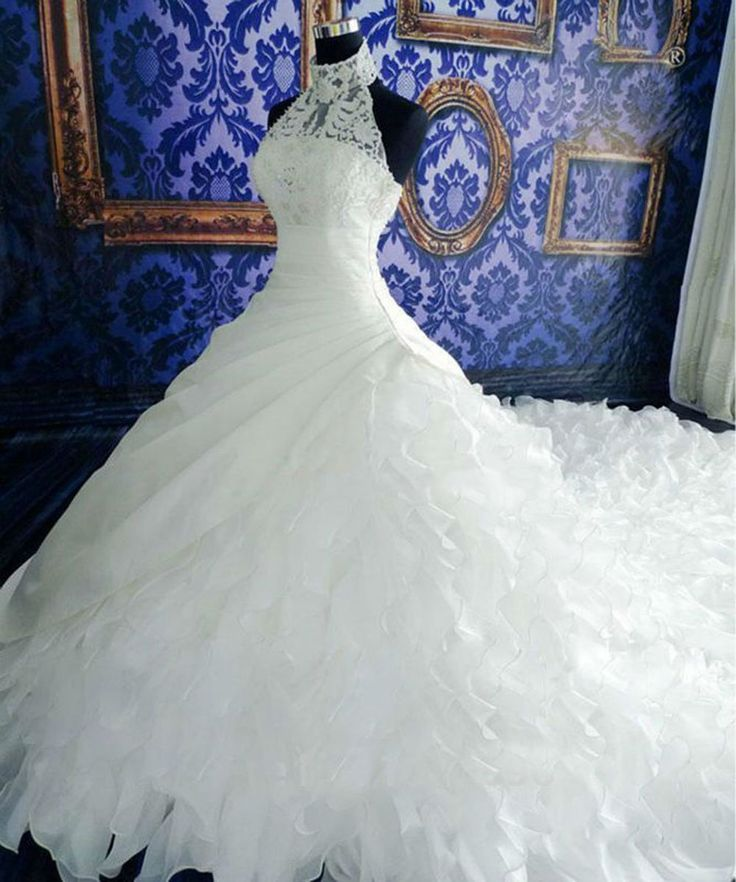 Sweetgirl Halter White Ruffles Applique Beads Ball Gown Wedding Dresses Royal Train: Fashion