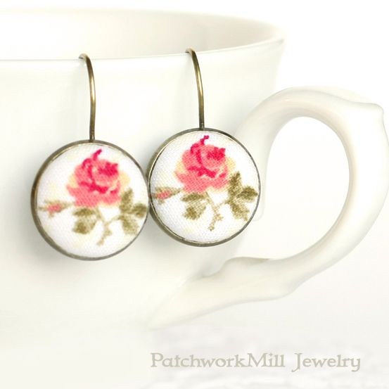 Romantic Leverback Earrings, Antique Tea Roses, Pink Beige Tan and Green Fabric Covered Buttons Earrings, Mothers Day Gift, Vintage Jewelry by PatchworkMillJewelry