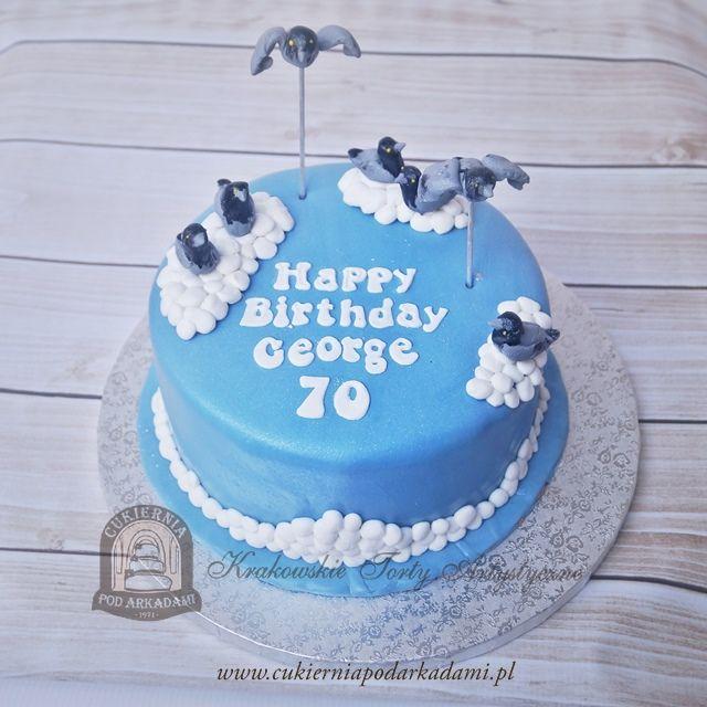 49BA. Tort z krakowskimi gołębiami. Birthday cake with pigeons.