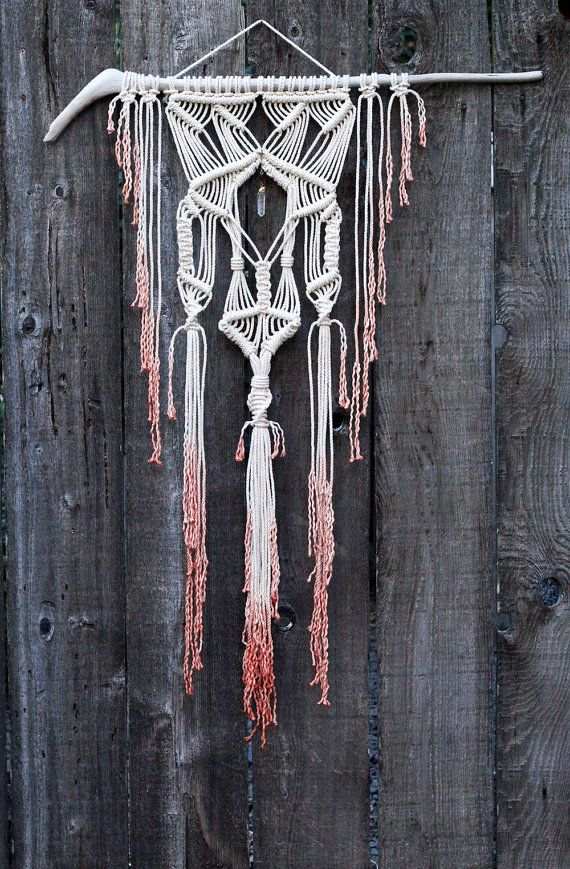 Dip Dyed Macramé Wall Hanging on Drift Wood with Quartz Crystal