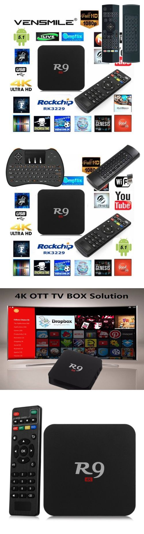 Other TV Video and Home Audio: R9 Rockchip Quad-Core 1080P 4K Android Wifi Tv Box Set+Air Mouse Keypad Remote -> BUY IT NOW ONLY: $57.95 on eBay!