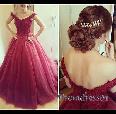 Ball gowns wedding dress, beautiful rose red organza long poofy senior prom dress with straps #coniefox #2016prom