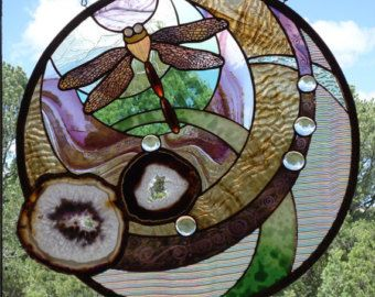 "stained glass window panel "" THE DRAGONFLY "" Brazilian agates, sand blasting, hand blown glass, hand poured glasses, glass nuggets, jewels"