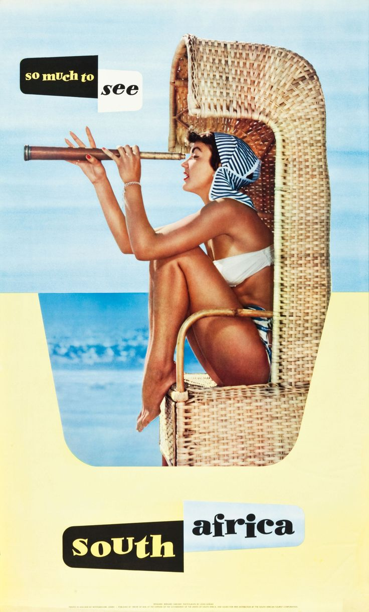 South Africa Travel Poster (South African Tourist Corporation, 1950s)Designed by Bernard Sargent (b. 1921), features a photo by John Adrian