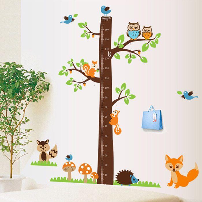 Erdei fa mókusokkal, rókával magasságmérő.  #magasságmérő #erdő #bagoly #róka #mókus #madár #fa #gyerekszobafalmatrica #falmatrica #gyerekszobadekoráció #gyerekszoba #matrica #faldekoráció #dekoráció