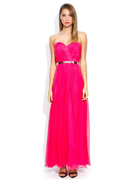 Truese - Bella Maxi Dress - Flamingo - Pink - Silk - Bridesmaid - Wedding - Formal - Graduation