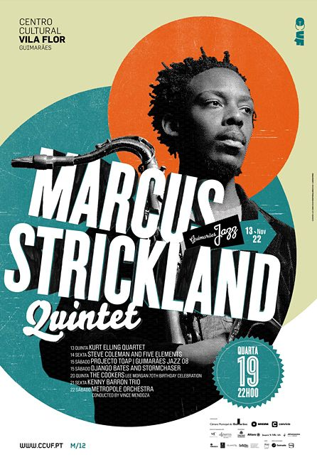 Jazz poster. Nice use of simple shapes and blocks of text. Four colors with the focal color around the face works well. Tilted headline text that's masked into the image gives the poster life.