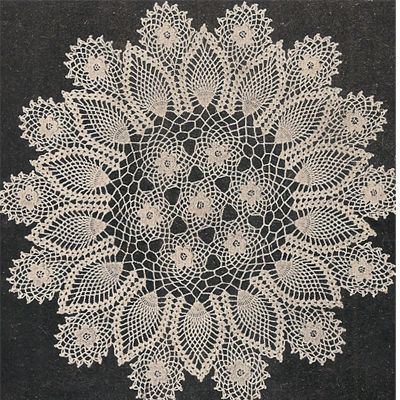 Crocheted Pineapple Rose Motif Doily Pattern