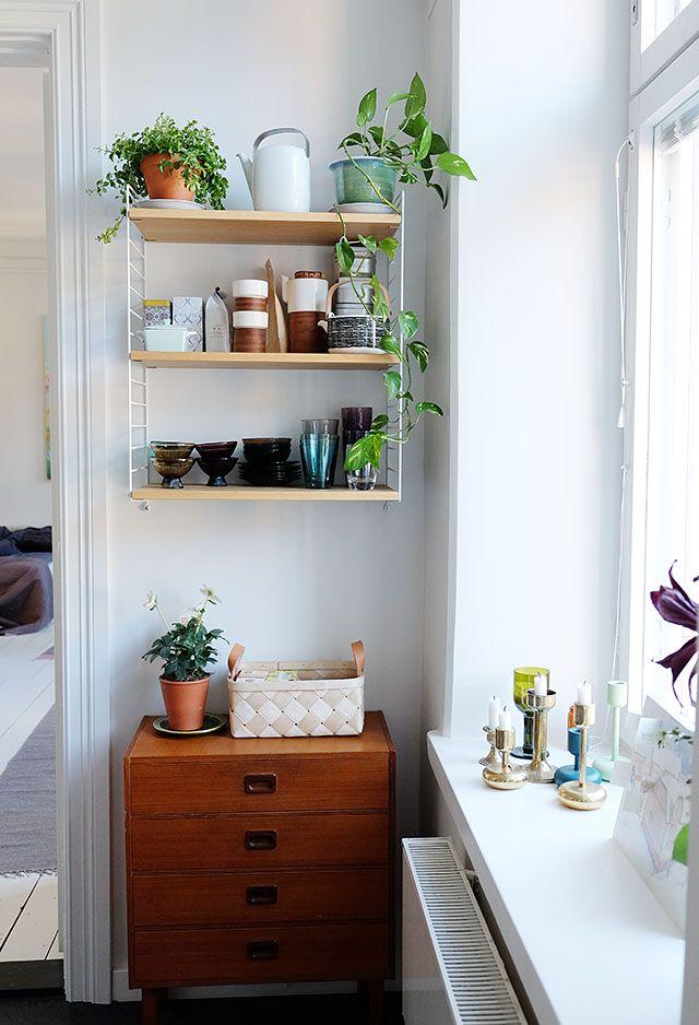 String shelf in the kitchen.