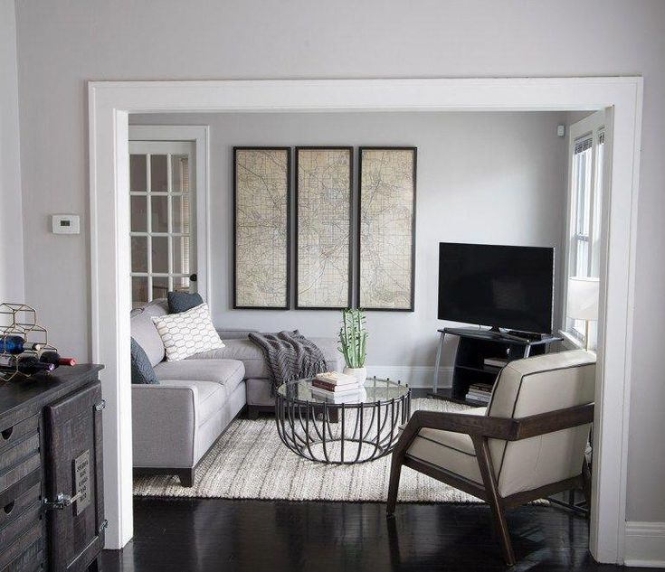 Sectionals - small living room with light gray walls ...