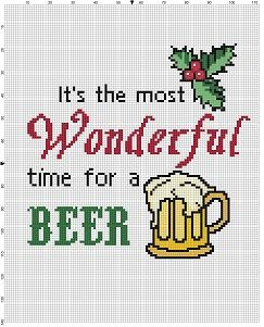 It's the Most Wonderful time for a Beer - Christmas Holiday Elf Santa Funny Modern Subversive Cross Stitch Pattern - Instant Download by SnarkyArtCompany on Etsy