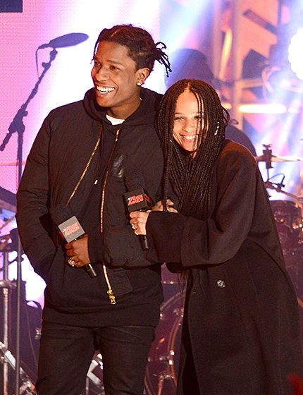 Zoe Kravitz looked ecstatic with pal ASAP Rocky on stage at the 2015 mtvU Woodie Awards in Austin, Texas on Friday, Mar. 20.