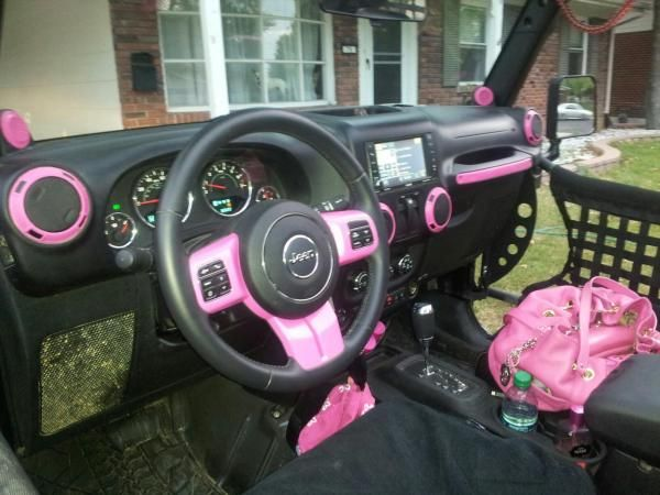 silver jeep wrangler with pink accessries   diy hot pink interior accents