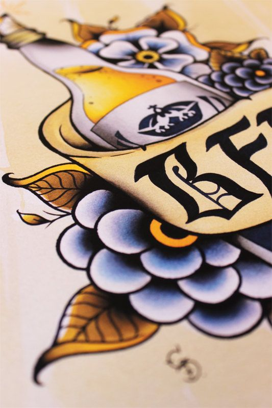 Corona Bier 11 x 14 traditionelle Tattoo Flash Print von Yukittenme