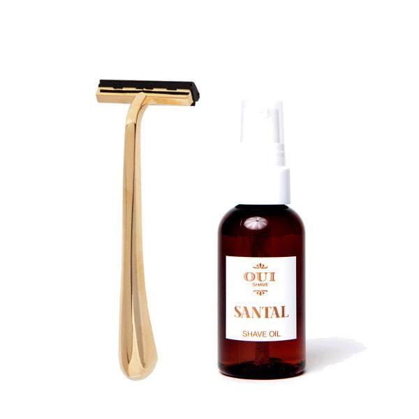 The Oui Shave - Charlotte Razor Set - Santal provides a close shave, especially when combined with shave oil. Shop EcoDiva's natural beauty care today!