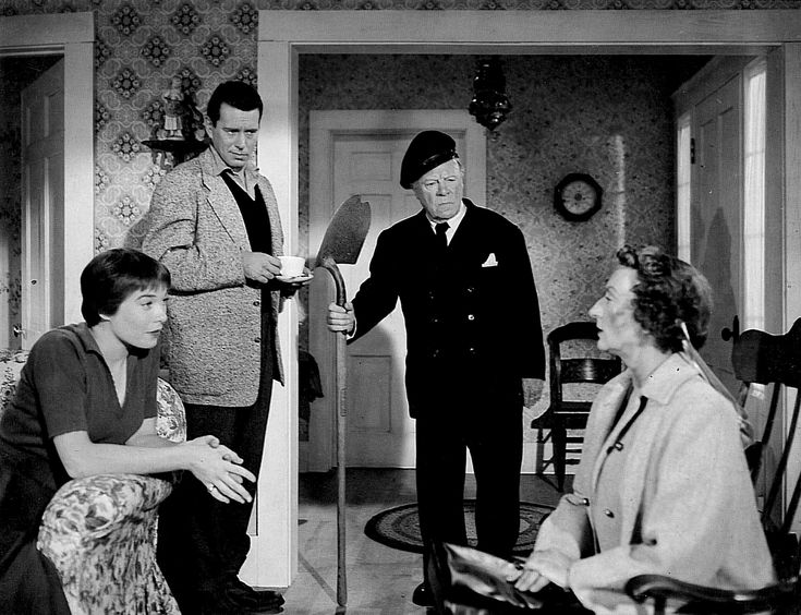 """""""The Trouble with Harry"""" of John Forsythe, Shirley MacLaine, Mildred Natwick and Edmund Gwenn. https://the.hitchcock.zone/wiki/Hitchcock_Gallery:_image_5481"""