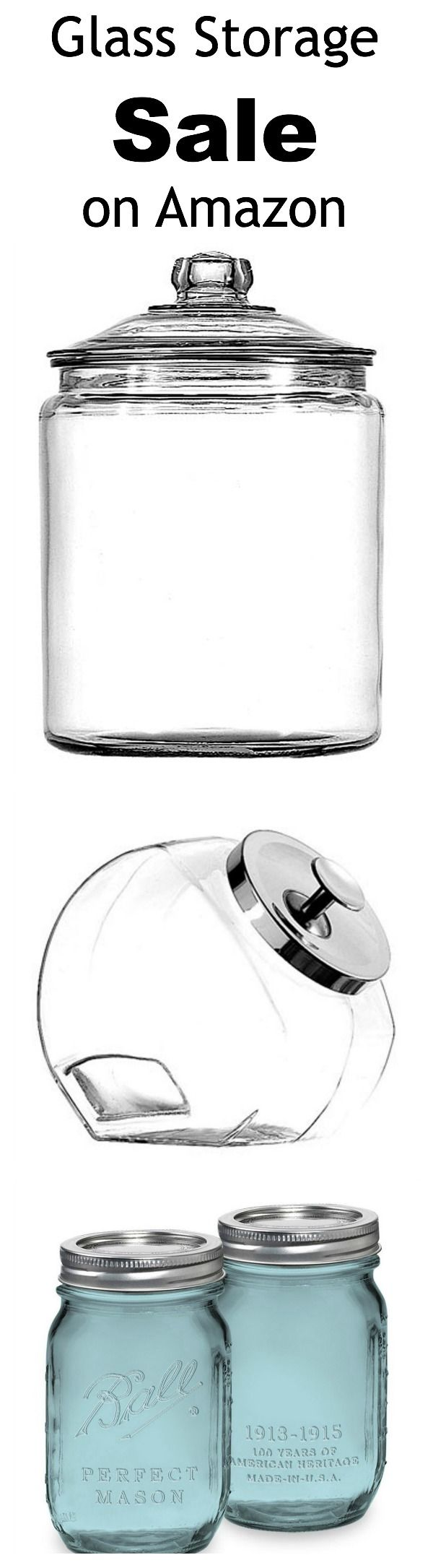 Awesome glass storage sale on Amazon. Perfect, beautiful and affordable for any room of the house. #organization
