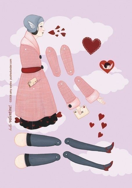 articulated paper dolls | Hello Valentine articulated paper doll set with 6 by woolandwater