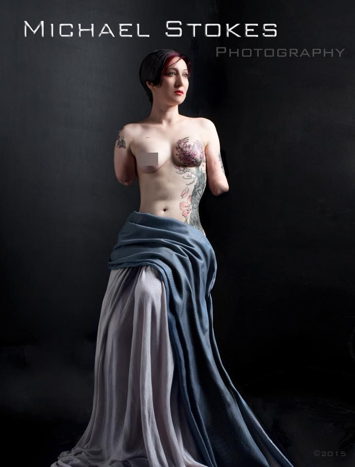 """Michael Stokes is doing some amazing eye opening through his photography of veterans whom have lost limbs or been """"disfigured"""" and telling their stories through his books. This photo is of Mary """"WonderNubs"""" Dague. She is absolutely nothing short of awe inspiring!! This will take you to her Facebook Page."""