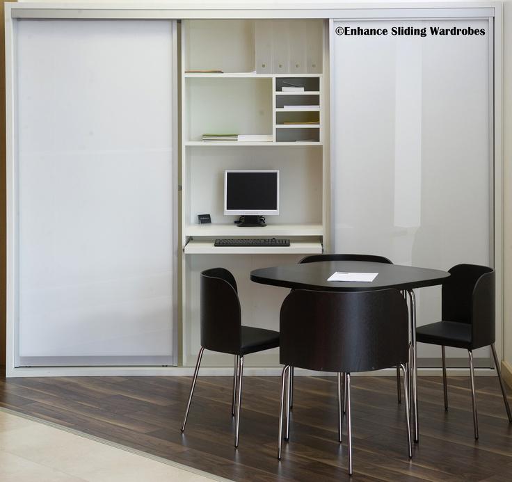 White Glass Sliding Wardrobe #homeoffice #study #storage // Designed by Enhance Sliding Wardrobes www.enhanceslidingwardrobes.com