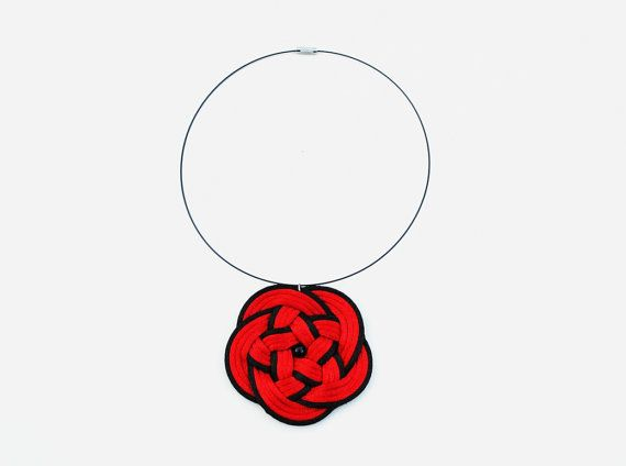Red flower necklace red and black knotted necklace by elfinadesign