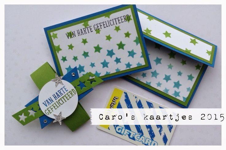 Stampin' Up! KJEG van harte gefeliciteerd cadeaukaart houder. Wil jij weten hoe je deze cadeaukaart houder maakt en hiervoor een workshop volgen? Dat kan bij mij thuis of bij jou? Neem contact met me op en dan bespreken we de mogelijkheden! carooskaartjes@hotmail.nl