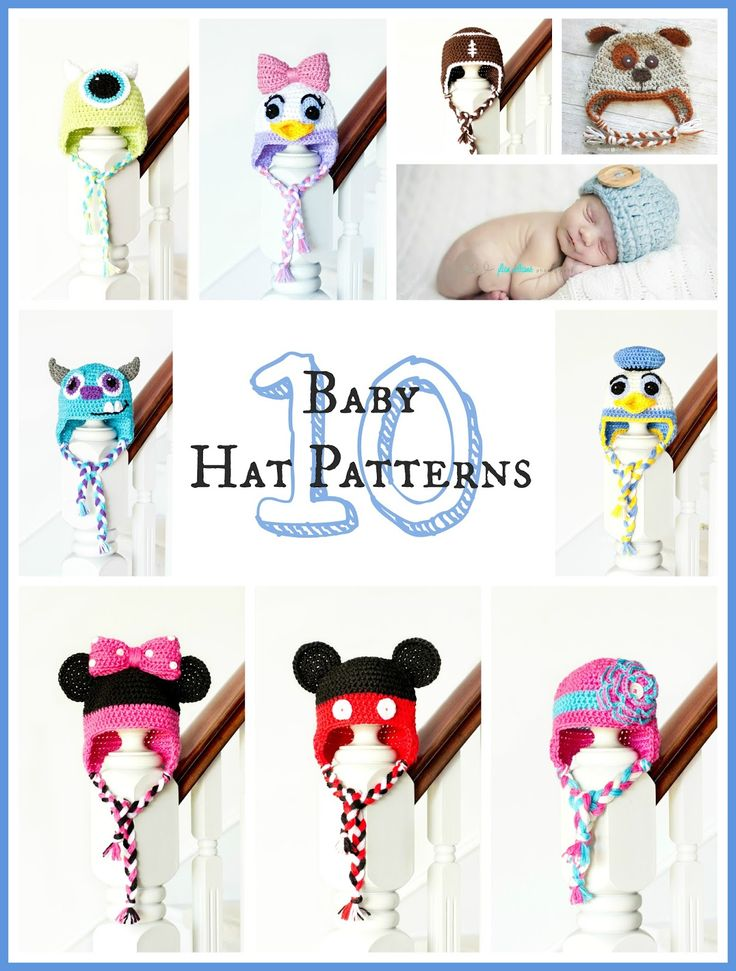 10 Free Adorable Baby Hat Crochet Patterns via Hopeful Honey. Mickey, Minnie, Donald, Daisy, Mike, and Sully