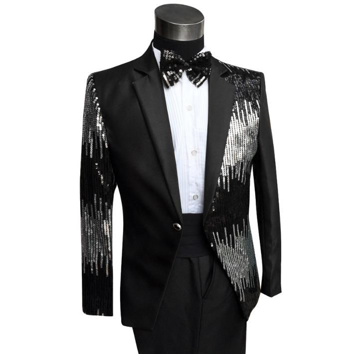 Sequins formal dress latest coat pant designs suit men terno masculino trouser marriage wedding suits for men's black red dance