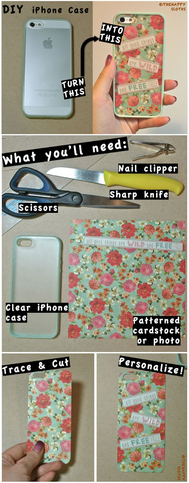 DIY iPhone Case, this would work with any clear phone case and its just too cute I WISH I HAD AN IPHONE TO DO THIS WITH! DO U THINK U COULD DO IT WITH A BLACKBERRY??
