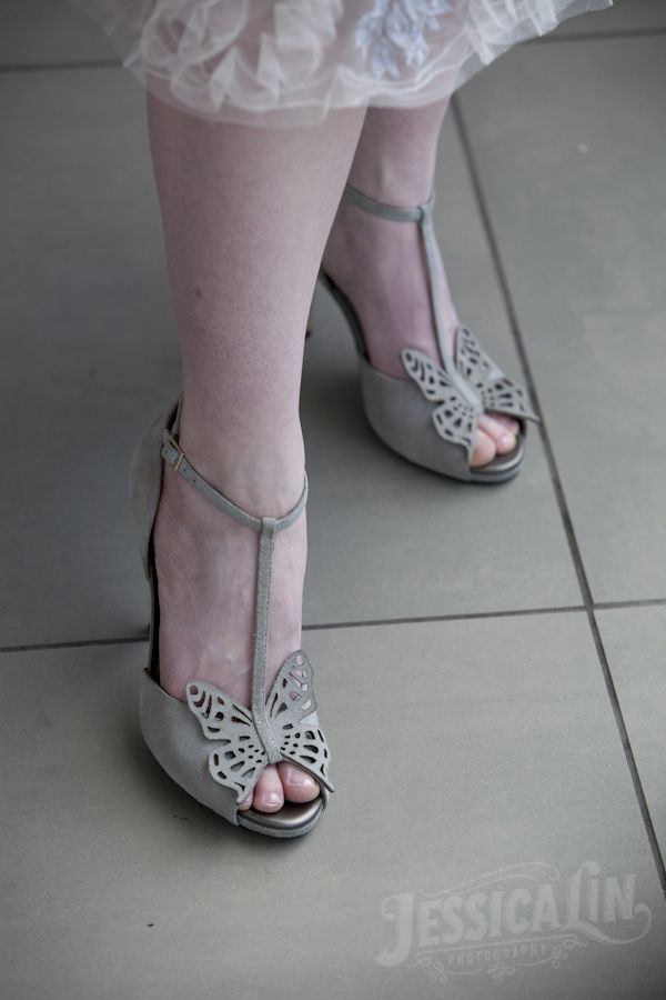 #unique #wedding #shoes #bride #heels #opentoe #grey #butterfly #detail #Toronto #JessicaLinPhotography