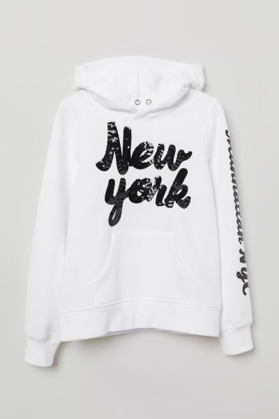 f2661f26c H&M Hooded Sweatshirt with Motif - Gray in 2019   Young Girl Tops ...