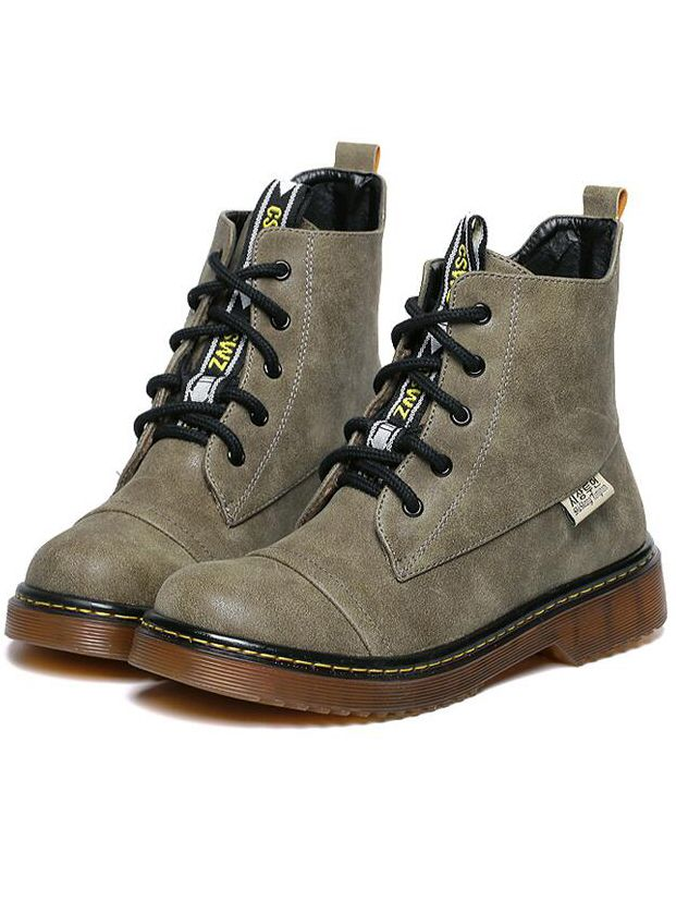 Army Green Vintage Thick-soled Round Toe Boots 40.00