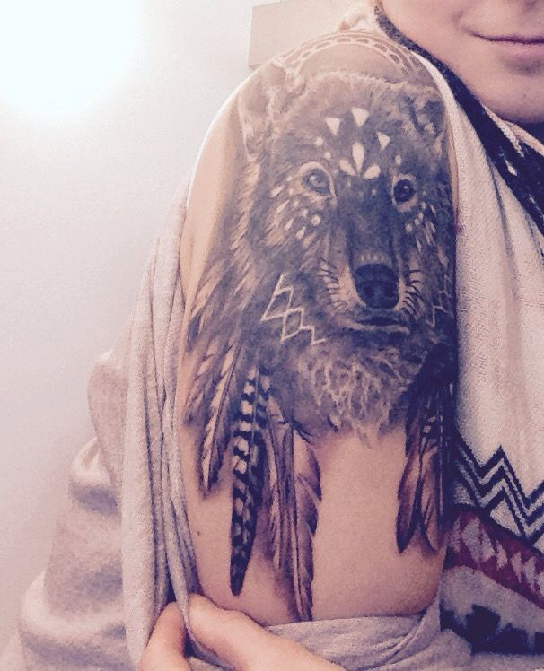 My native Wolf feather tattoo
