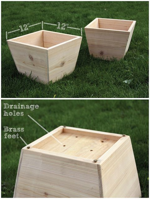 Cedar wood planter woodworking projects plans for Tapered planter box plans