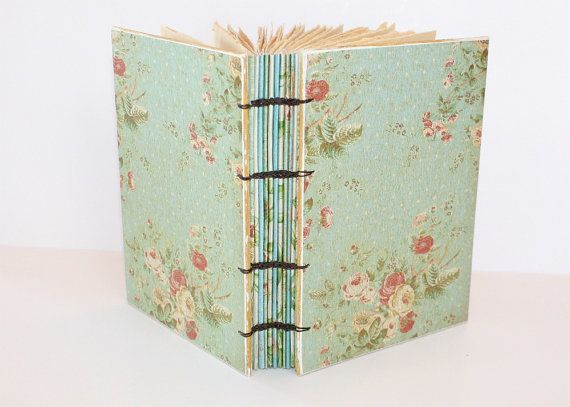 Aqua Floral Coptic Bound Journal: Book Vendor, Vintage Fabric, Recipe, Handcrafted Books, Guest Book