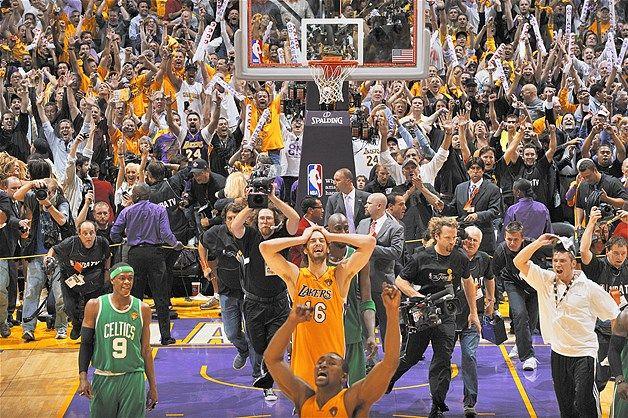 Los Angeles Lakers Pau Gasol, Ron Artest win 2010 NBA Finals vs. Boston Celtics (© John W. McDonough/Sports Illustrated/Getty Images)...