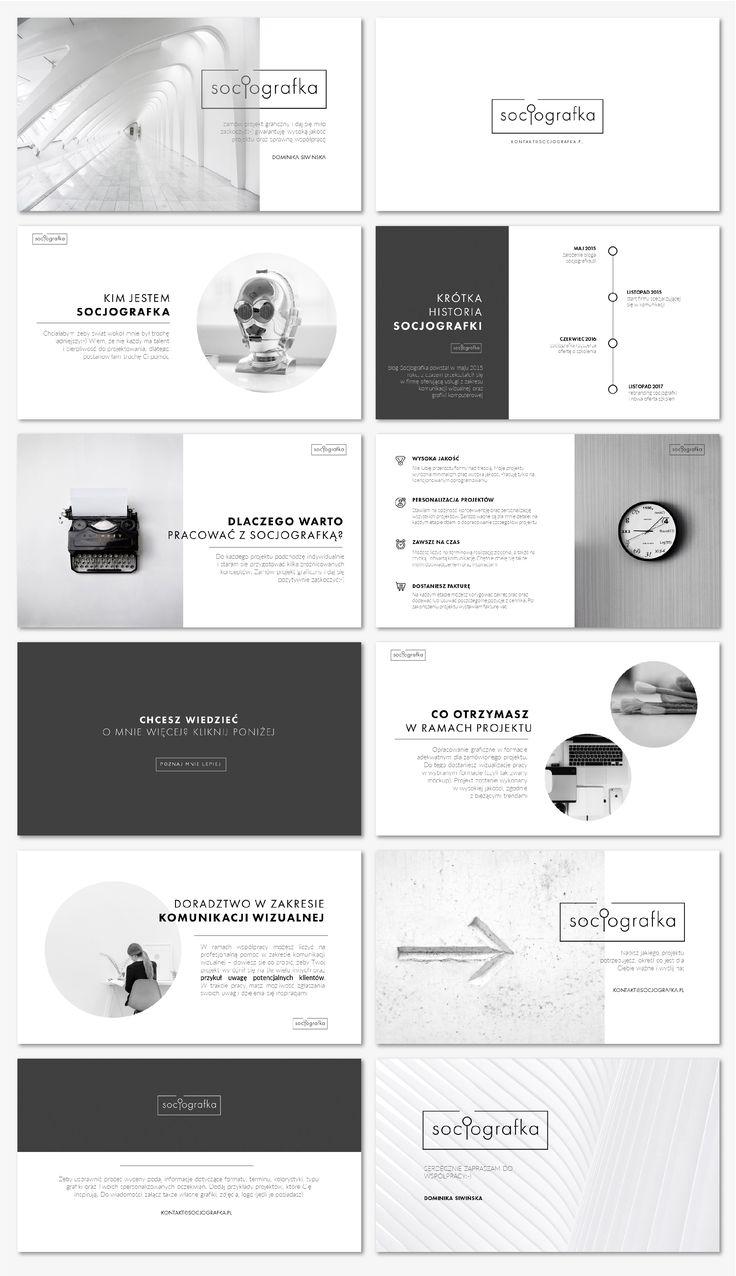 Przykład prezentacji monochromatycznej, która doskonale sprawdzi się w promocji marek czy produktów z segmentu premium. Czarno-biała kolorystyka ułatwia  przygotowanie spójnych slajdów, a minimalistyczny styl nie odwraca uwagi od najważniejszych przekazów. Poniższy layout doskonale wpisuje się w najnowsze trendy w projektowaniu graficznym, opierając swoje założenia na tzw. negative space.